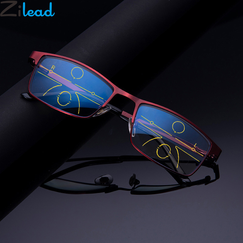 Zilead Anti Blue Light Multi Focus Reading Glasses For Men Business Progreesive Presbyopia Spectacles Eyeglasses+1.0 +4.0 Unisex