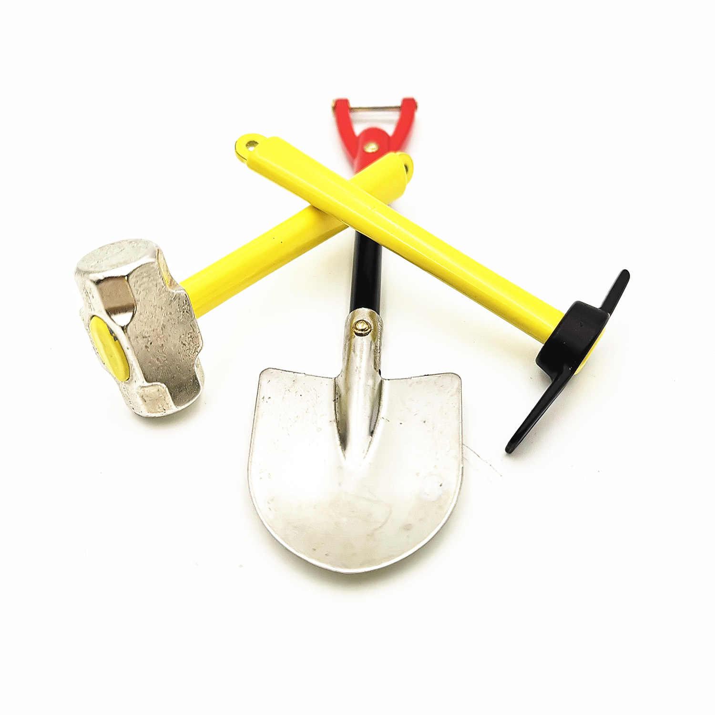 Set Of Three Model Car Simulation Hoes Metal Mini Toeing Hammer Shovel For 1:10 Trx 4 90046 Jkmax D90 Rc Climbing Car Decorati