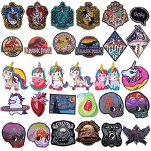 Pulaqi Jurassic Park Patches For Clothing Dinosaur Embroidered Iron On Clothes Apparel Period Badges H