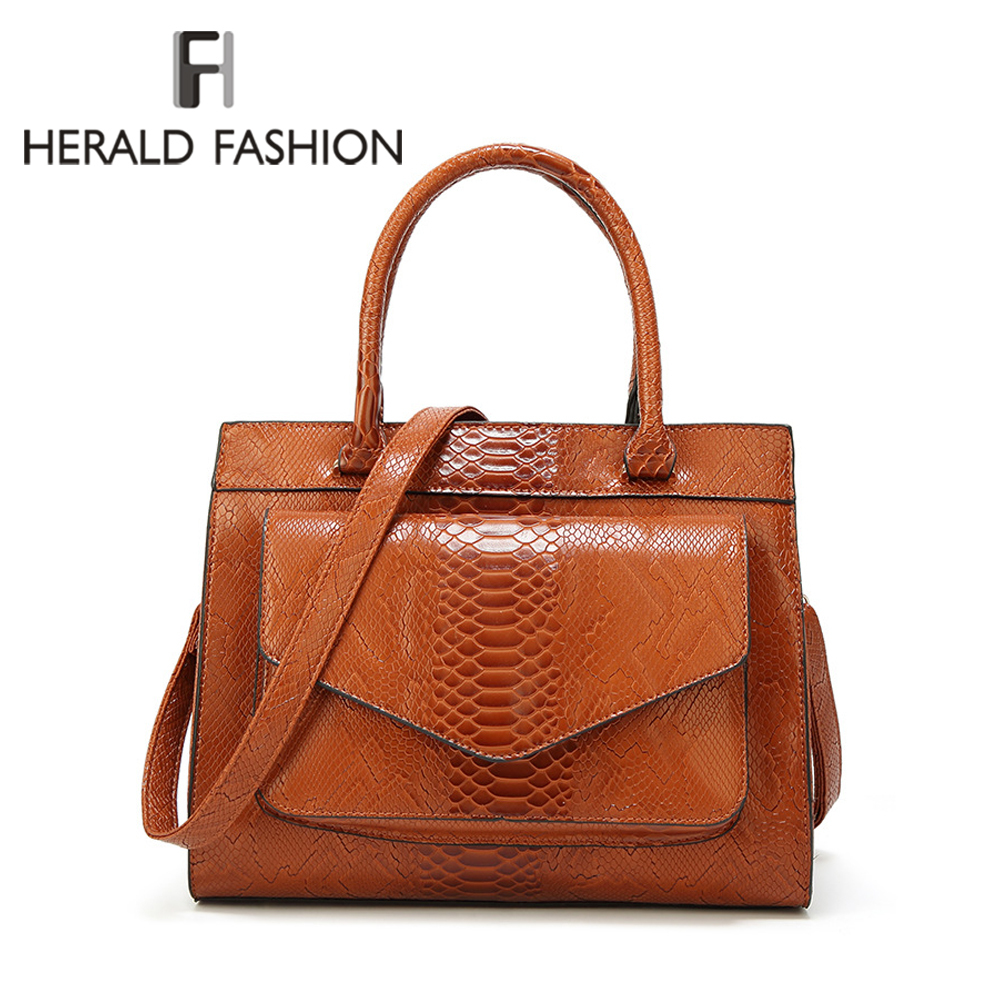 Herald Fashion Serpentine Women Top-handle Bag Female Leather Shoulder Causal Totes High Quality Vintage Ladies Handbag