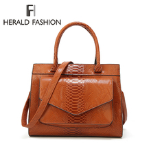 цены Herald Fashion Serpentine Women Top-handle Bag Female Leather Shoulder Bag Causal Totes Bag High Quality Vintage Ladies' Handbag