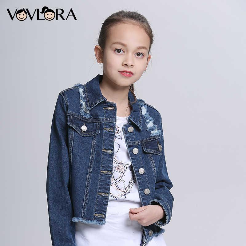 4a753f19c6f Vovlora Джинсовые куртки для девочек буквенный принт джинсовые куртки для  девочек с длинным рукавом хлопок детская