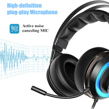 T19 PC Gamer Wired Headset USB 3D Surround Sound Gaming Headphones With Active Noise-Cancelling Microphone Led For Computer sades sa 903 usb gaming headphones with microphone for computer 7 1 surround sound wired headset gamer fones de ouvido