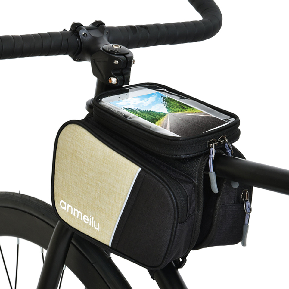 Details about  /Lixada MTB Bike Front Tube Bag Bicycle Front Frame Bag Cycling Double Pouch D6D6