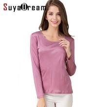 SuyaDream Women T shirt Natural Silk Long sleeves O neck Basic shirt 2020 FALL new white black Bottoming Top