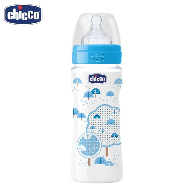 Бутылочка Chicco Well-Being Boy 4 мес.+, сил. соска, РР, средний поток, 330 мл