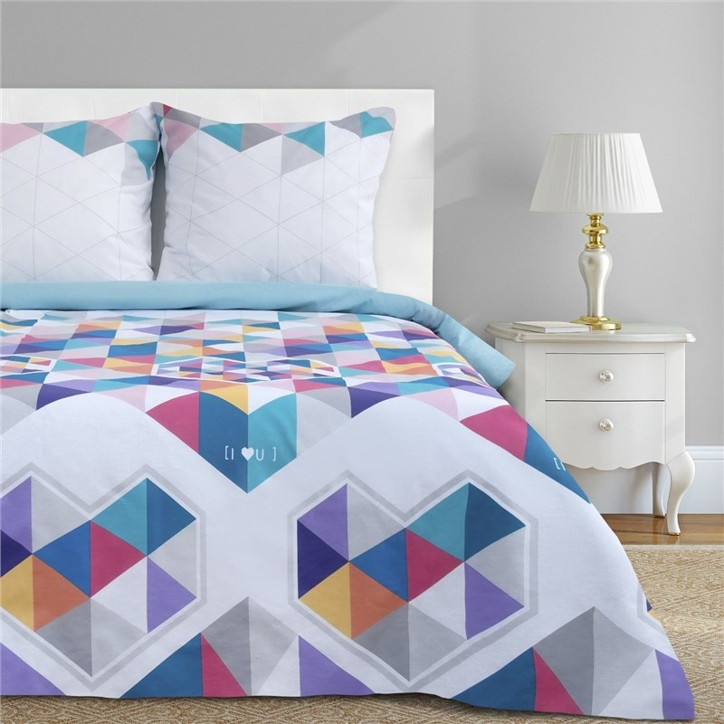 Bed Linen Ethel Euro Geometry love 200x217 cm, 220x240 cm, 70x70-2 pcs, calico calico print crochet back mix