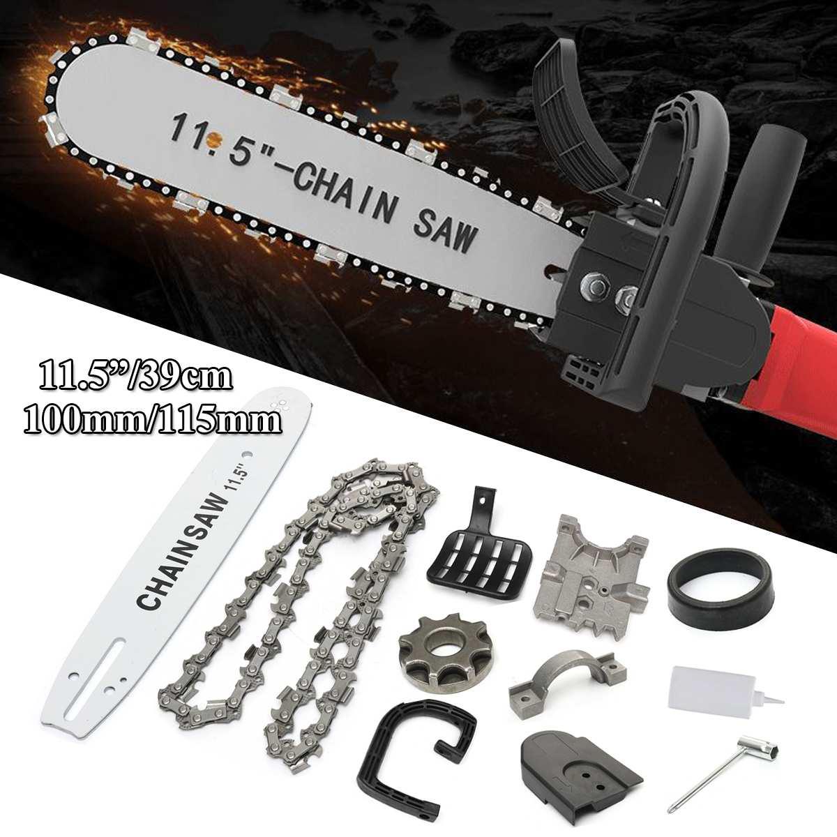 11,5 Zoll/39 cm Holzbearbeitung Upgrade Elektrische Kettensäge Transfer Umwandlung Kopf Halterung für 100 115 DIY Winkel Grinder Set