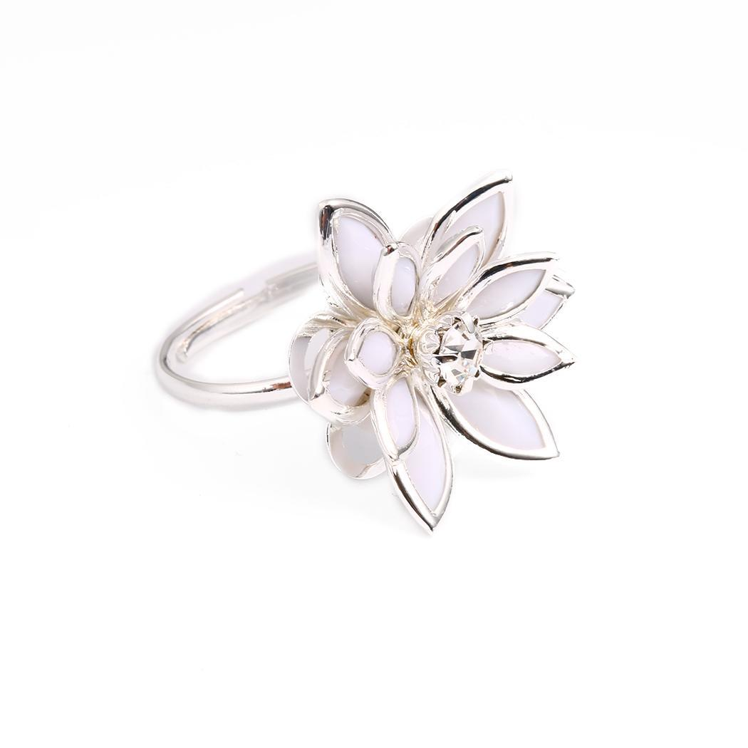 Cubic 17mm Wedding Ring Flower Romantic Vintage Lotus Finger Snow Party Lily Adjustable Casual Water Rings Etc Women Great Varieties