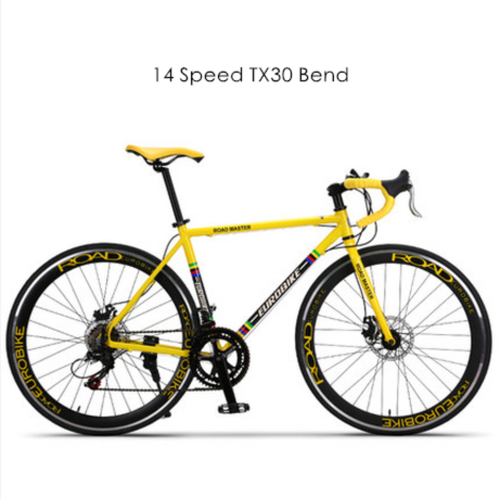 Nouvelle marque 700c cadre en alliage d'aluminium 14/27 vitesse frein à disque vélo de route Sport de plein air course Bicicleta vélo pause vent vélo