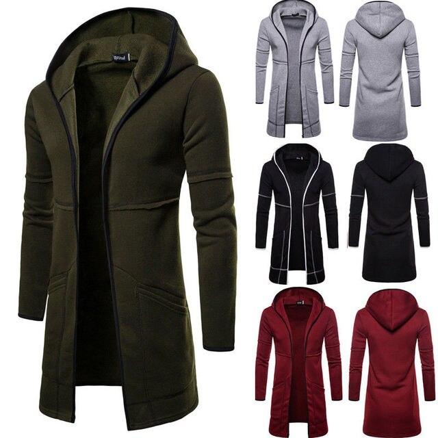 メンズ新スタイル秋冬コート暖かいトレンチ新ファッションロングオーバーカジュアルな固体カーディガン