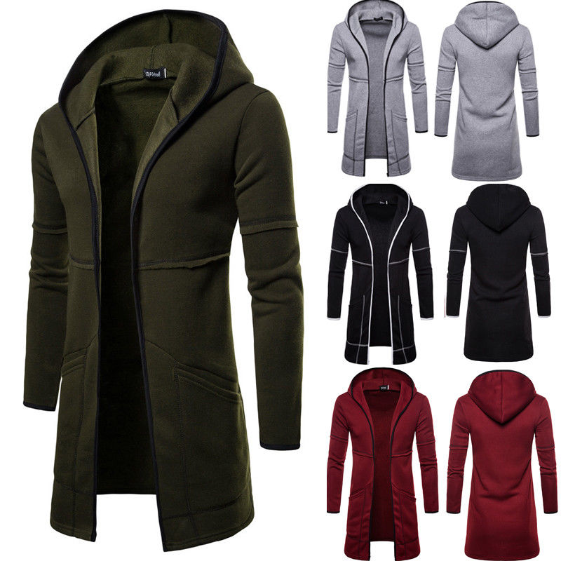 Coat Cardigan Trench Autumn Mens Casual Winter New-Fashion Outwear Warm Solid Long title=