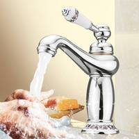 Upscale Retro European Bathroom Basin Faucets Mixer Tap Ceramic Decoration Plating Single Handle Hot and Cold Deck Mount