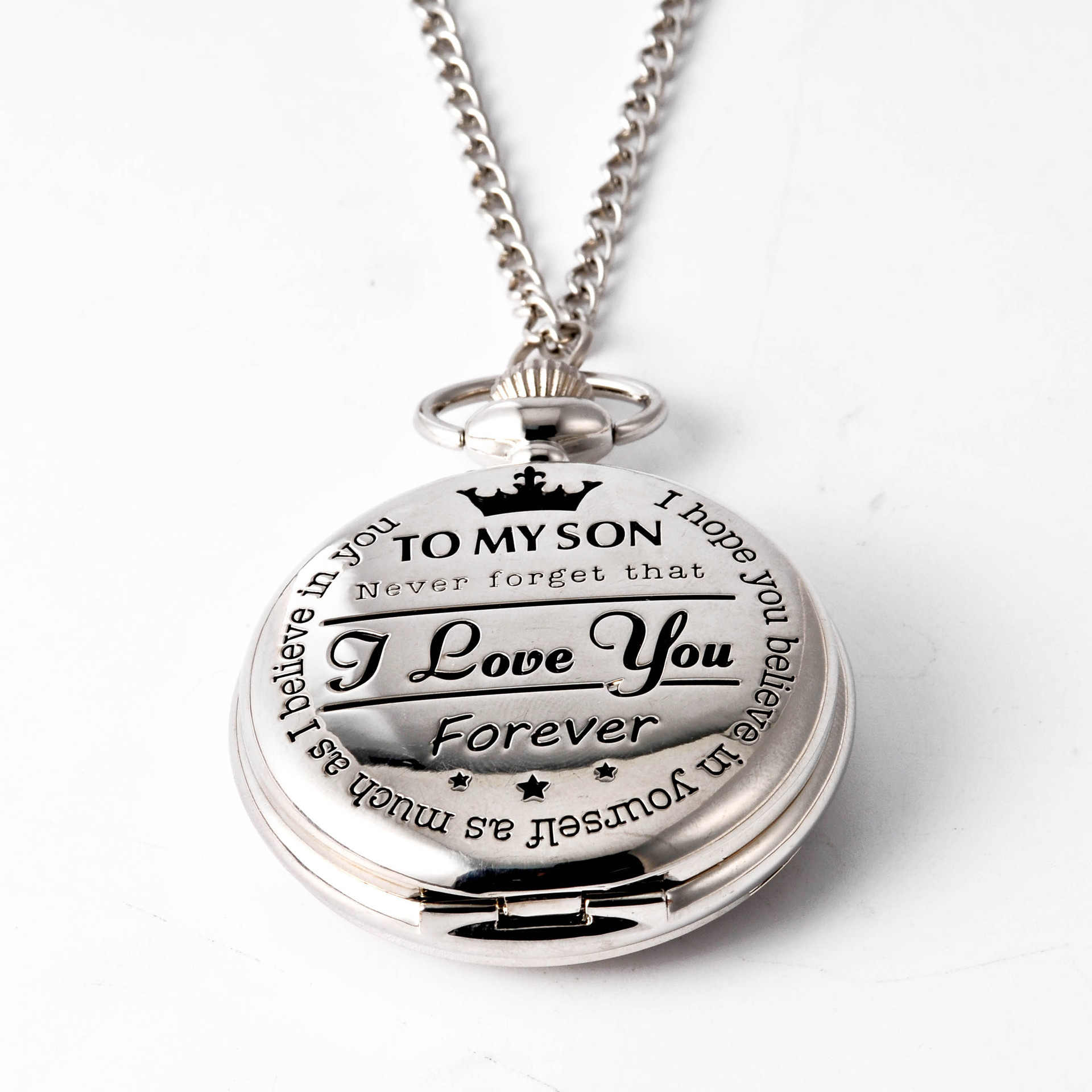 Pocket & Fob Watches To My Son Pocket Watch Necklace I Love You Forever Quartz Watch  for  Son's Gift Watch