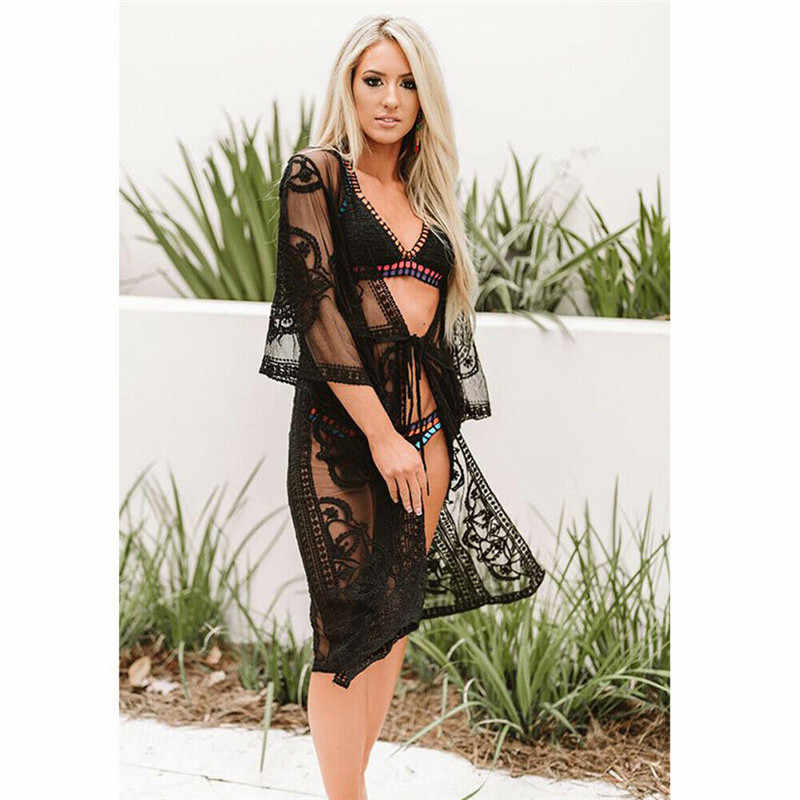Женское сексуальное кружевное бикини, накидка, элегантное Сетчатое прозрачное пляжное платье, Прозрачное платье-туника, Пляжная накидка, купальный костюм