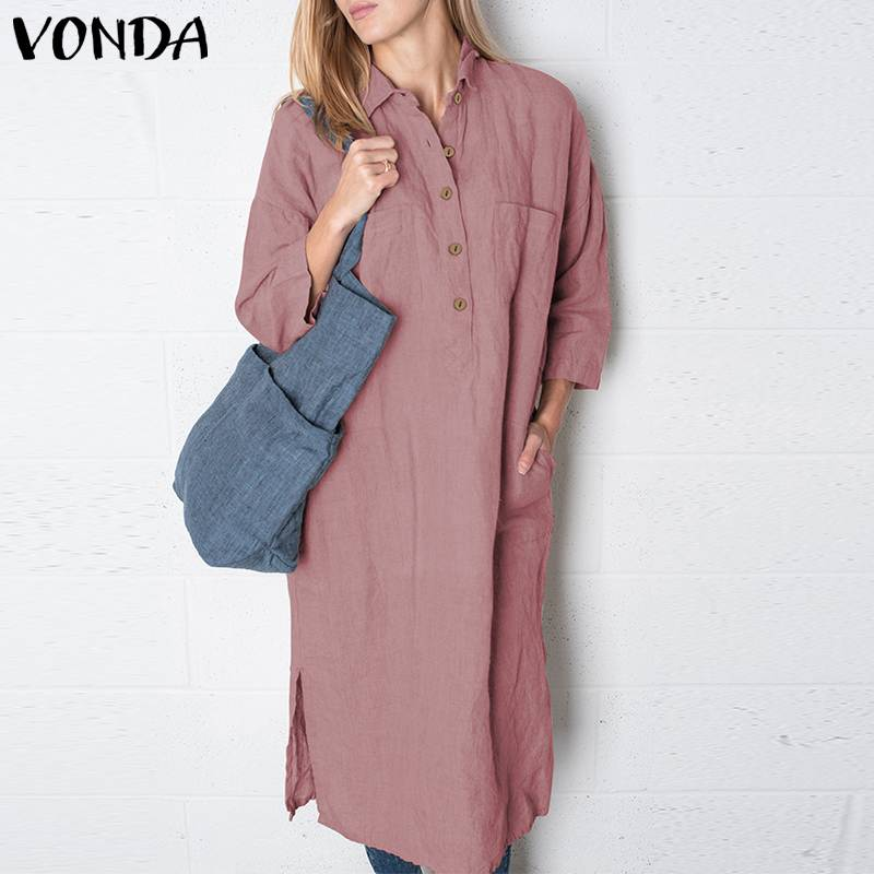 VONDA Women Shirt Dress 2019 Autumn Lapel Neck Half Sleeve Pockets Buttons Solid Dresses Female Plus Size Vestidos