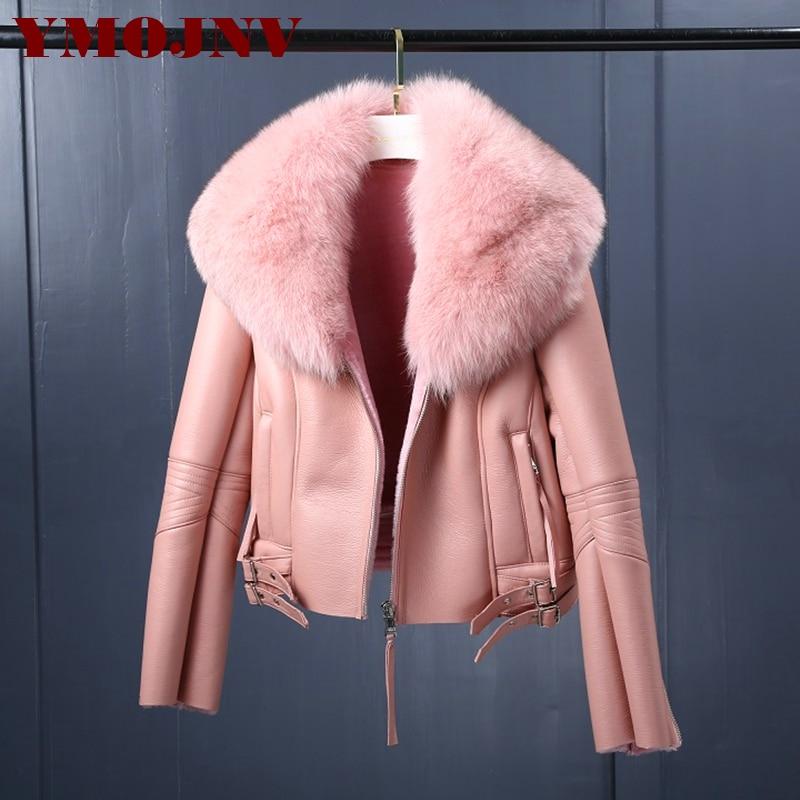 YMOJNV Women Real Merino Sheep Fur Jacket Winter Natural Fox Fur Collar Bomber Jacket Genuine Shearing Sheepskin Leather Coats
