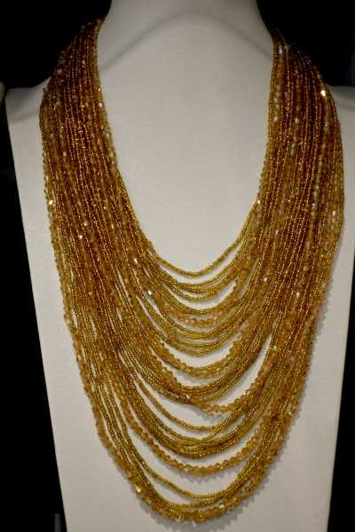 Handmade crystal jewelry 28 layer Gold Champange bicone and Czech Glass seed bead statement necklace for party