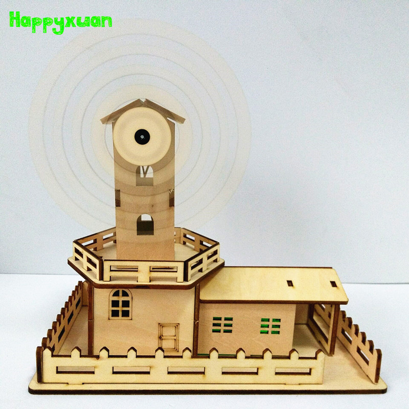 Happyxuan DIY Assembled Electric Kit Led Wood Windmill With Music Creative Craft Supplies Kids Educational Science Toy Gift