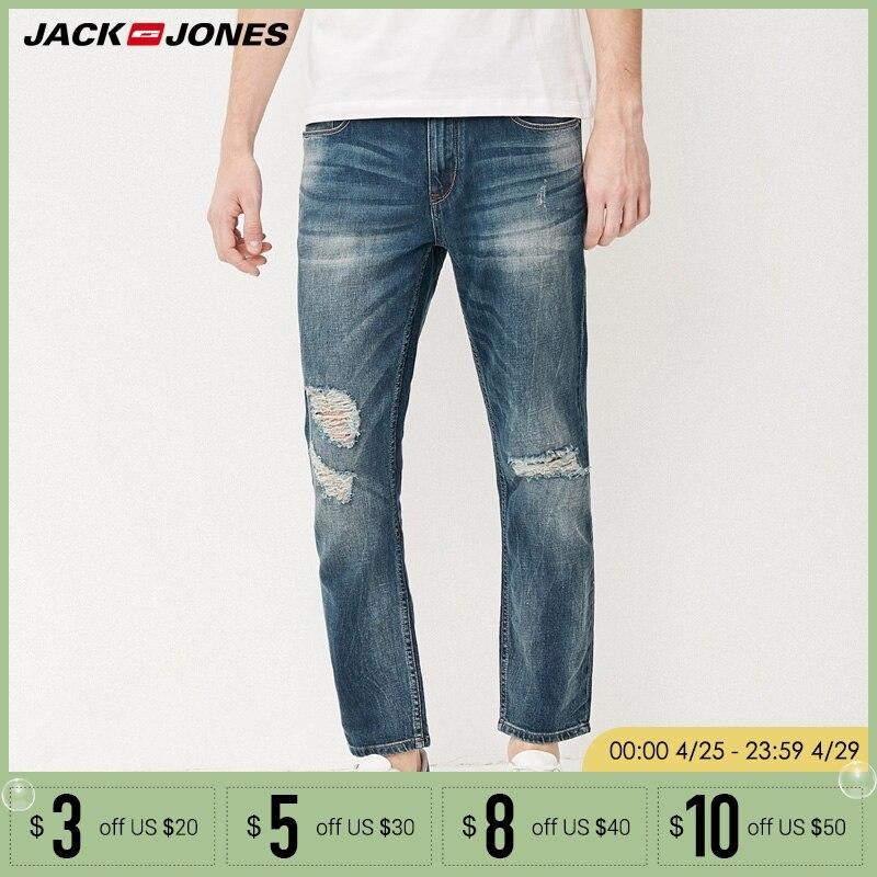 Jack & Jones Brand fasion holes cotton and linen slim long male   jeans   |217232518