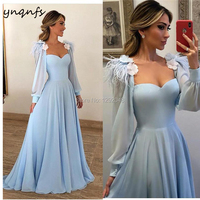 YNQNFS M81 Gala Jurken Vestidos Elegantes Feather Blue Dress Long Sleeves Mother of the Bride Dresses Groom Mother Gown