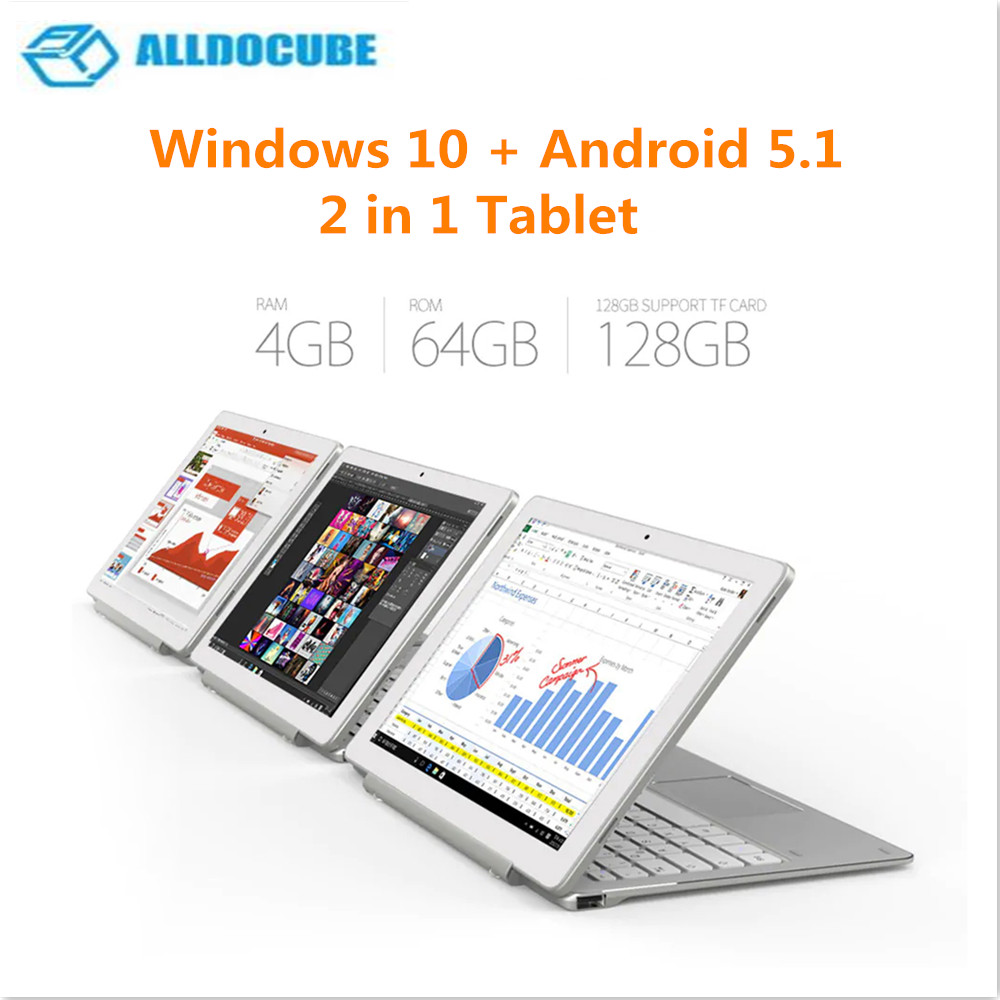 ALLDOCUBE iWork 10 Pro 2 in 1 Tablet with Keyboard 10.1 inch Windows 10 Android 5.1 Intel Atom x5 Z8350 4GB RAM 64GB ROM