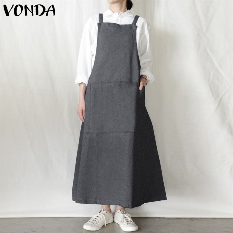 VONDA Women Dress 2019 Summer Sexy Sleeveless Strap Casual Loose Maxi Long Dresses Ladies Casual Loose Vintage Vestidos