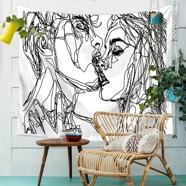 Modern Minimalist Fashion Tapestry Bohemian Decorative Abstract Lines Beach Towel Home Bedroom Wedding Party Decoration