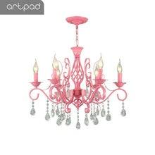 Artpad K9 Crystal Modern Chandelier Light for Living Room Wedding Decor Green Pink LED Girl Kids Bedroom Hanging Lights