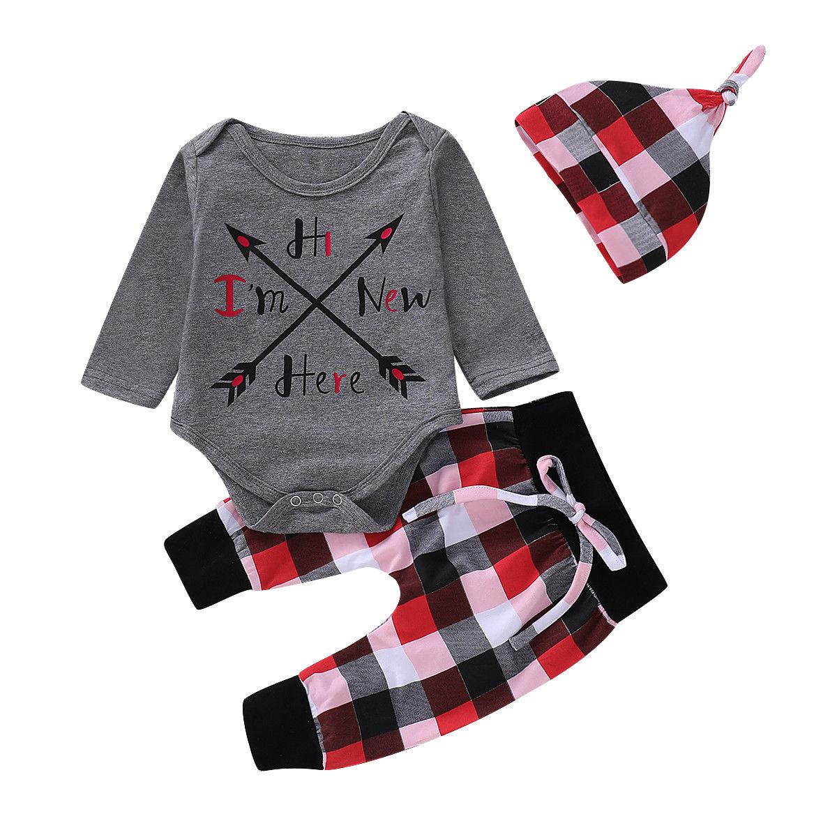 0-18M Newborn Baby Boy Girl Long Sleeve Arrow Cotton Bodysuit Tops Plaid Pant Trouser Hat 3PCS Outfits Clothing Set