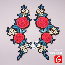 GUGUTREE embroidery big flower patches rose badges applique for clothing DX-122