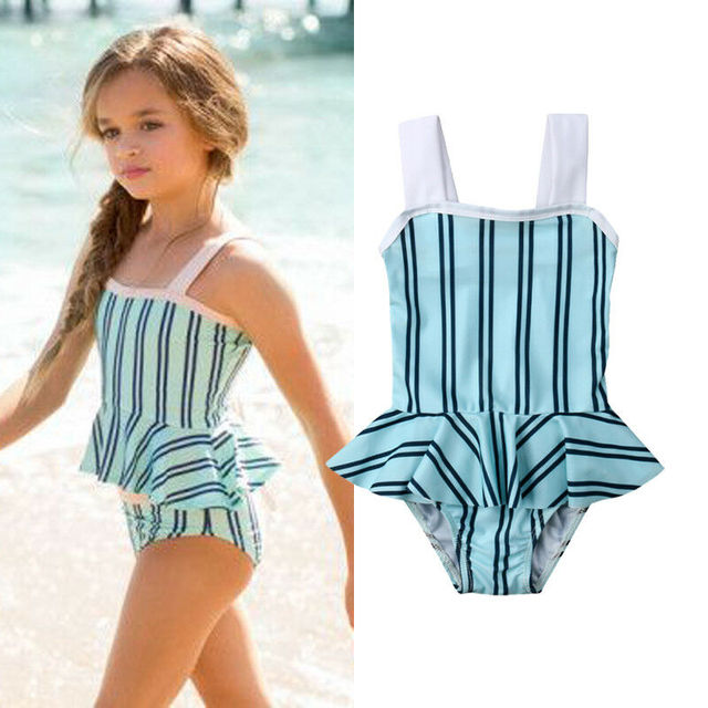 83c30ceef011e Little Girls Two-piece Striped Swimsuit Toddler Kids Babies Stripe Tankini Bikini  Swimwear Swimsuit Bathing Beach Suit