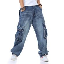 New Fashion Brand Mens Straight Denim Cargo Pants Biker Jeans Men Baggy Loose Blue Jeans With Side Pockets Plus Size недорго, оригинальная цена