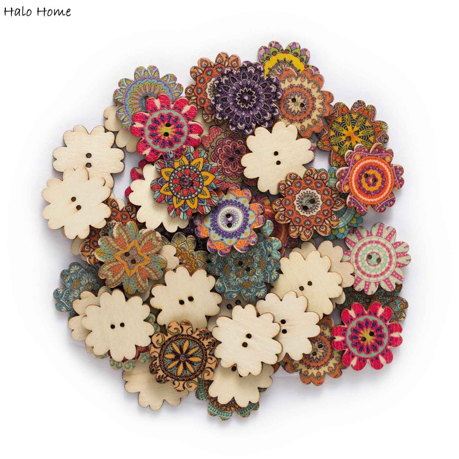 Pkg of 25 wooden flower retro buttons wood sewing scrapbooking embellishments craft supplies