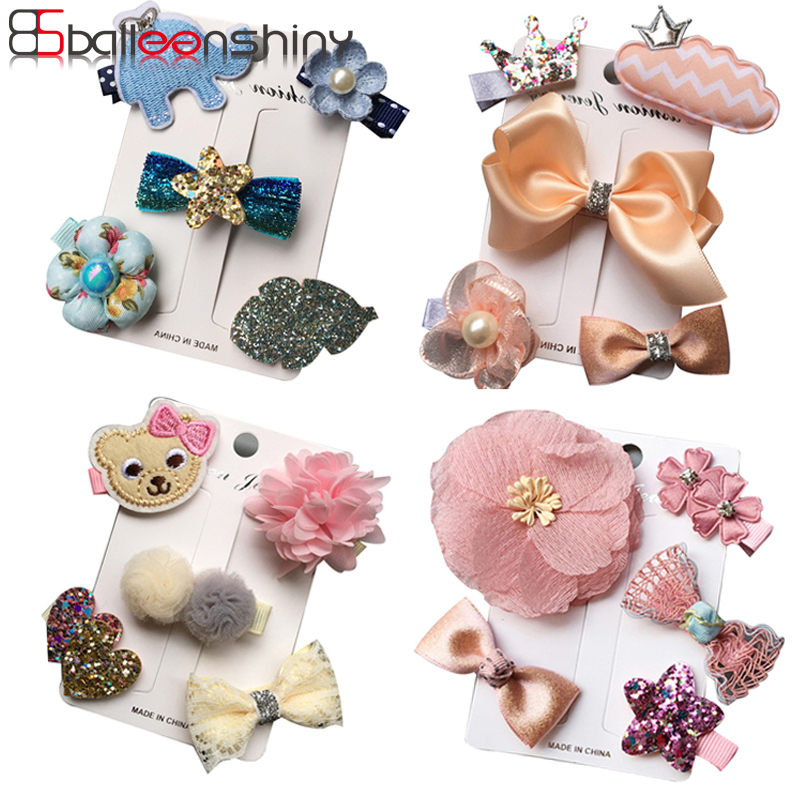 f5c54a89c7812 BalleenShiny 5PCS Baby Girls Crown Glitter Flower Hair Clips Set Infant  Princess Hairpins Accessories Kids Cartoon