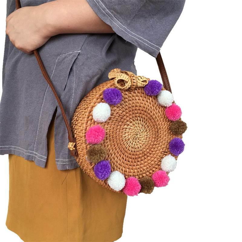 Ins Style Autumn Rattan Bag Colorful Hair Ball Bowknot Straw Braided Bohemian Style Round Crossbody Bag Beach Bag