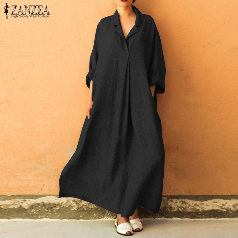 US $13.48 42% OFF|ZANZEA Plus Size Maxi Dress Women\'s Sundress Female Long  Vestido Elegant Button Down Shirt Dress Long Sleeve Party Robe Femme-in ...