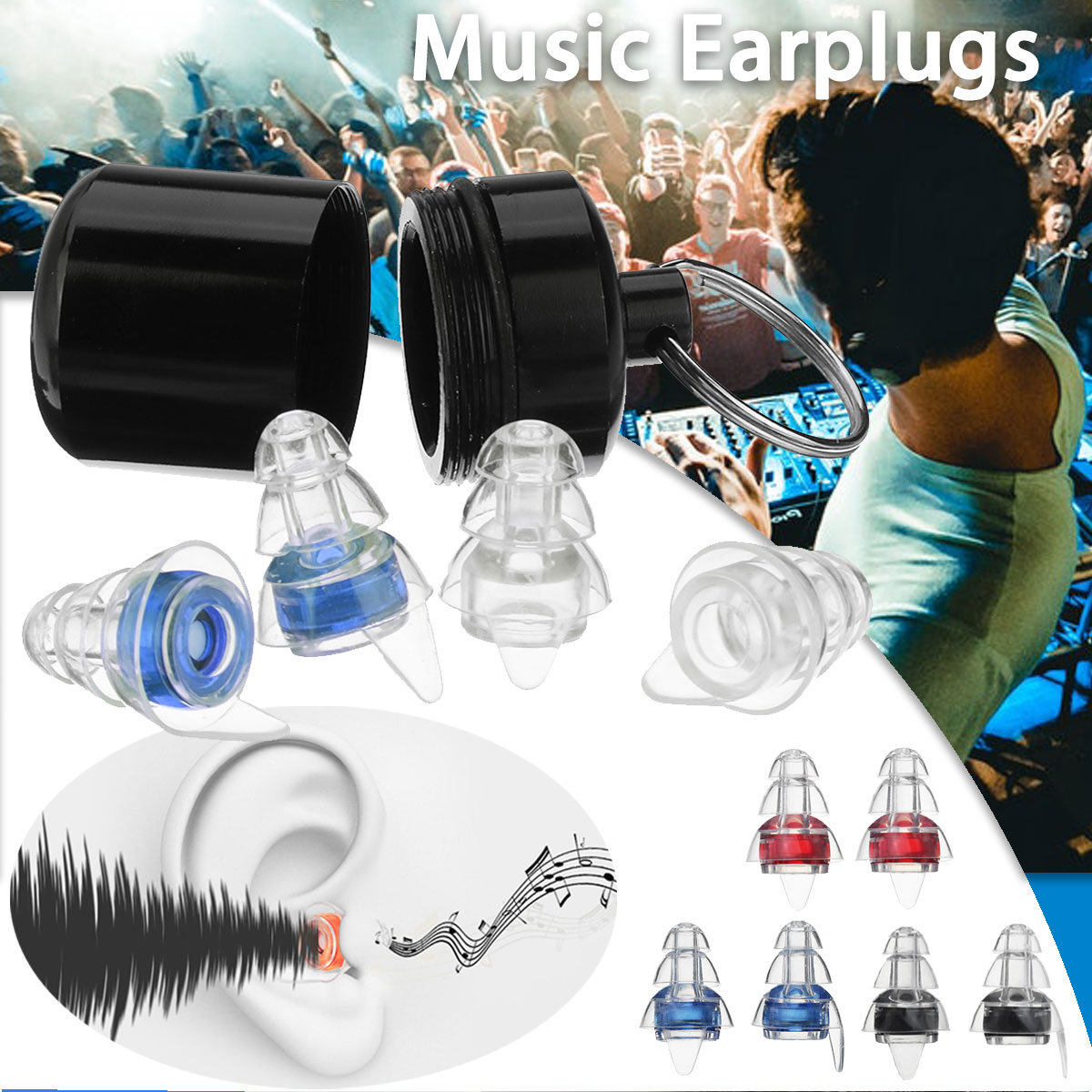 Safurance 2Pairs Noise Cancelling Hearing Protection Earplugs For Concerts Musician Motorcycles Reusable Silicone Ear plugsSafurance 2Pairs Noise Cancelling Hearing Protection Earplugs For Concerts Musician Motorcycles Reusable Silicone Ear plugs