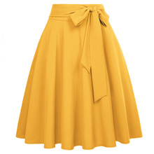 Women Solid Color High Waist skirts Self-Tie Bow-Knot Embellished big swing keen length elegant retro A-Line Skirt