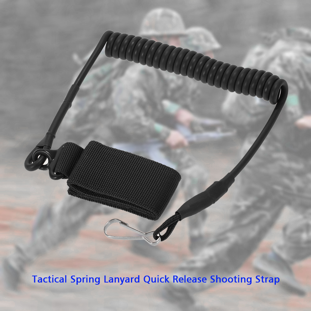 Adjustable Tactical Spring Pistol Lanyard Coiled Wire Secure Sling Strap Outdoor Combat Gear Relieving Rheumatism And Cold