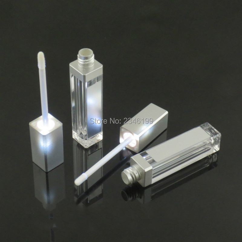 10/30/50pcs 7.5ml Empty Makeup DIY Lip Gloss Bottle Silver Square Lip Gloss Tube With LED Light Mirror Bottle