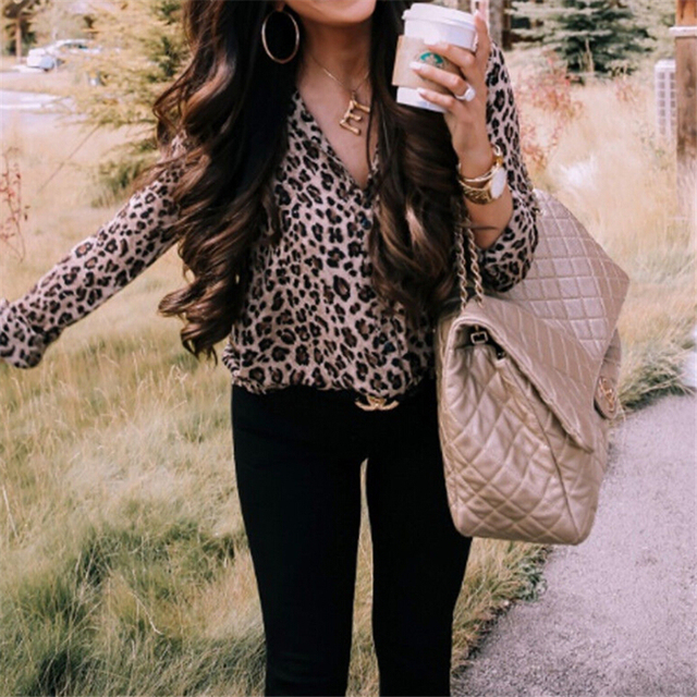 Sexy Leopard Print Shirt Women Long Sleeve Shirts Ladies Shirts And Blouses Button Shirt Casual Turn Down Collar Leopard Blouses 5