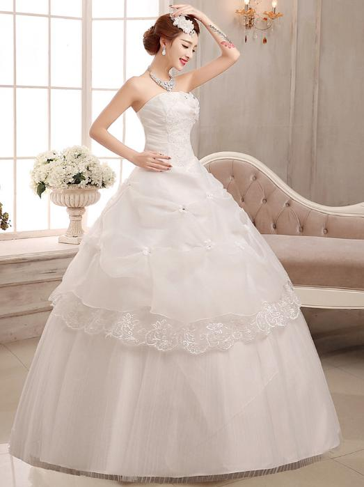 LASONCE Crystal Flowers Strapless Sequined Ball Gown Wedding Dresses Tiered Lace Appliques Backless Bridal Dress