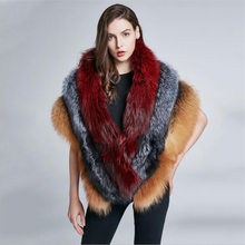 IANLAN Deluxe Womens Genuine Full-pelt Fox Fur Shawl Wrap Real Silver Long Stoles Winter Thick Warm IL00426