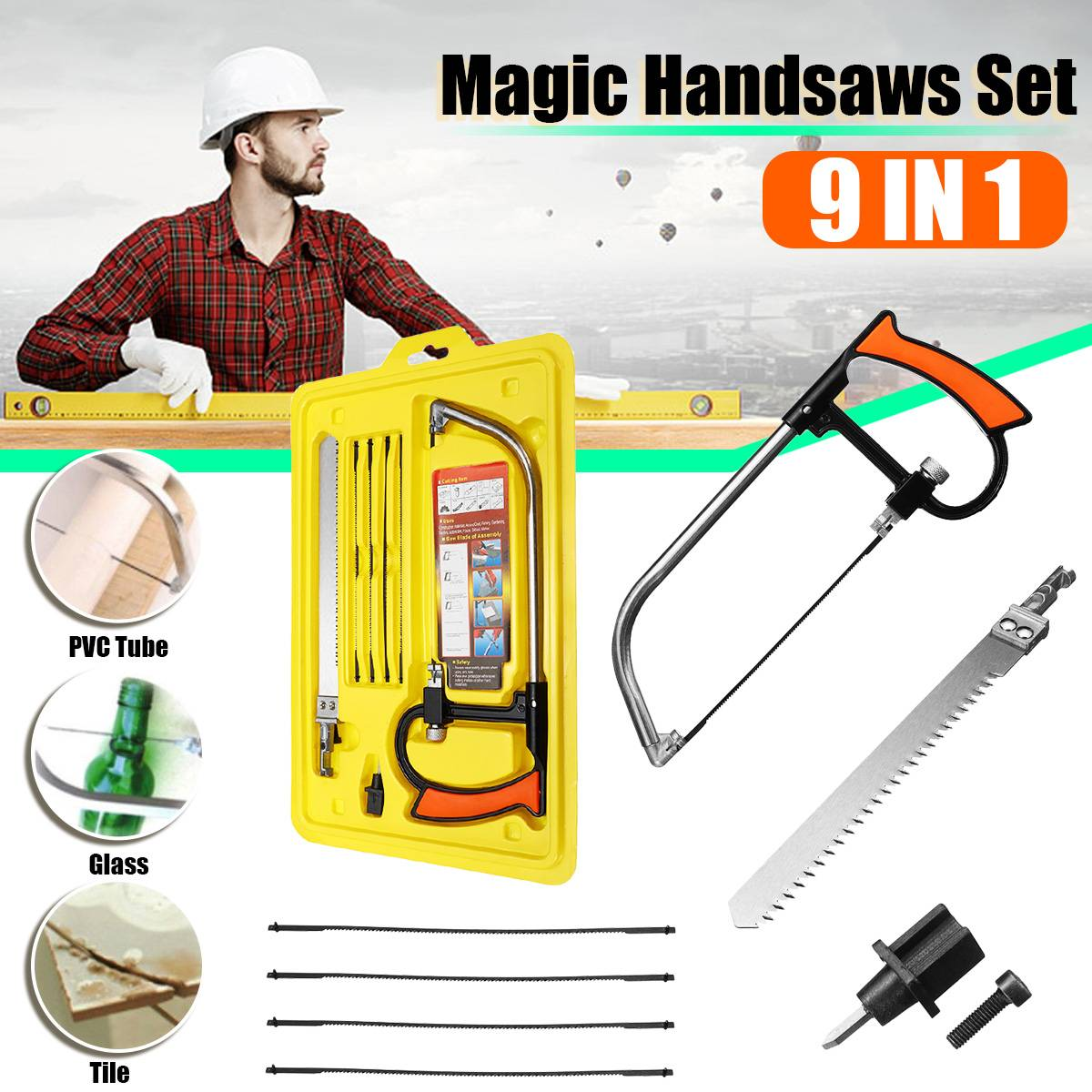 9 In 1 Abrasive Disc Handsaw Set DIY Hand Bow Saw Wooden Working Kitchen For Wood Cutting For Saw Blade Sharpening Tool Set