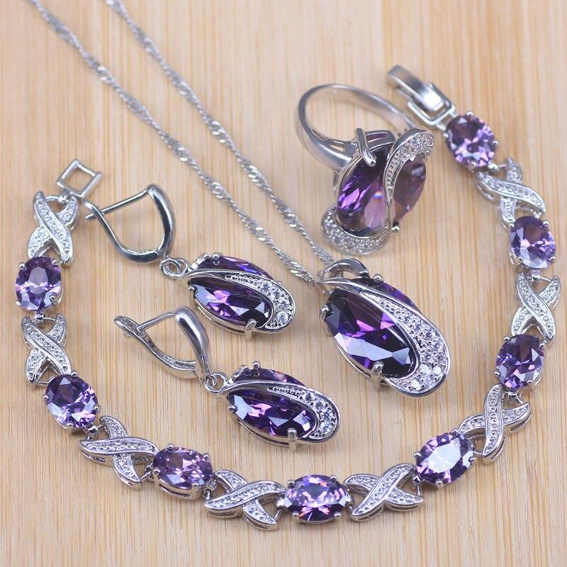 Risenj Silver Color Jewelry Sets For Women Wedding Party Purple Crystal Earrings Bracelet Rings Necklace Pendant Bracelet