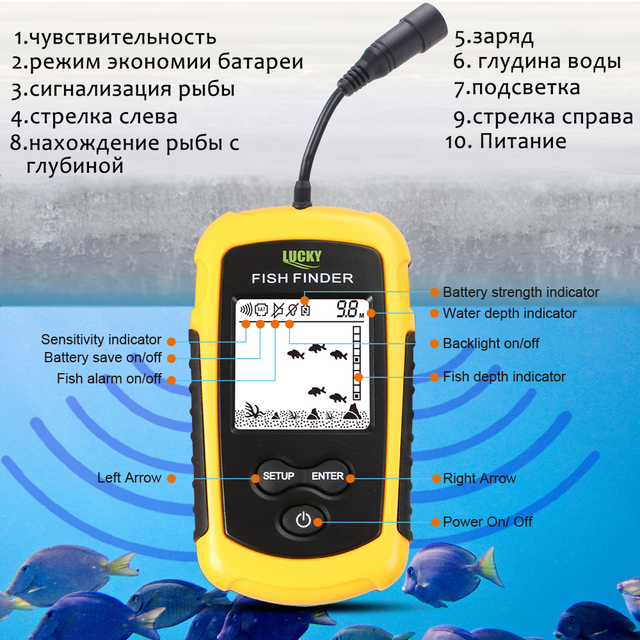 Lucky Portable Fish Finder Sonar Alarm Echo Sounder 0.7-100M fishfinder for fishing Sensor Depth
