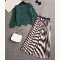 Autumn Women Skirt Set Long Sleeve O Neck Knit Sweaters Set Short Sweater Pleated Skirt Set