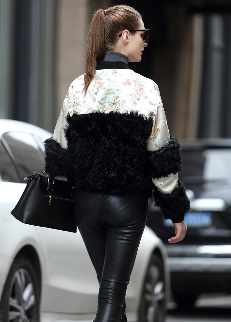 Rf0303 Manteau Version Silver Jacquard Brocade Style Naturelle 2018 Chinois Et noir Femmes D'agneau Nouvelles Veste Rétro Phoenix De rose Dragon Fourrure PqTqExw