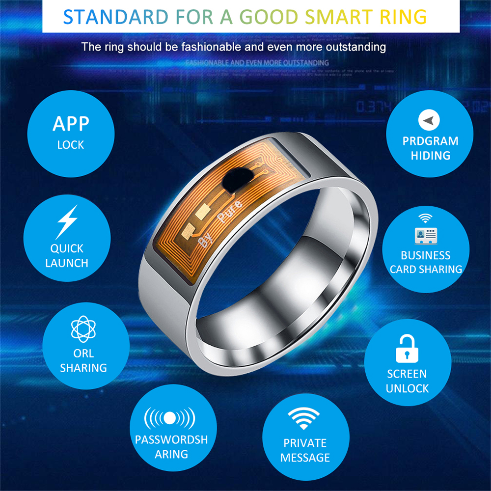 NFC Smart Ring Stainless Steel Intelligent Chip Magic Finger NFC Ring IC ID Card For NFC Mobile Phone Waterproof Smart Ring